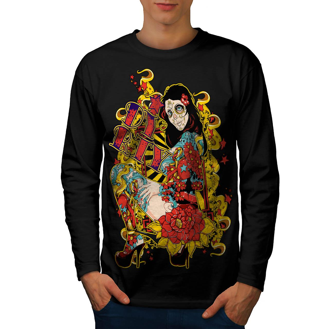 Dirty Party Girl Life Ink Naked Men Black Long Sleeve T-shirt | Wellcoda