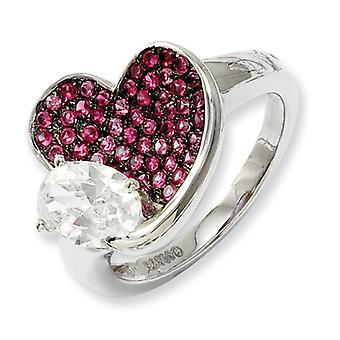 Sterling Silver and CZ Brilliant Embers Pink Heart Ring - Ring Size: 6 to 7