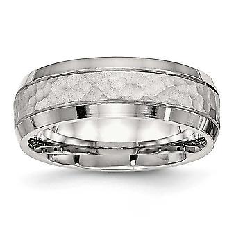 Edelstahl gebürstet und poliert, gehämmert 7,50 mm Bandring - Ring-Größe: 7 bis 13
