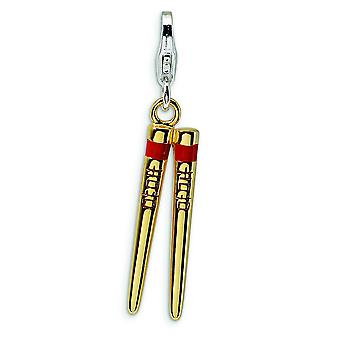 Sterling Silver 3-D Enameled Gold-Flashed Chopstick With Lobster Clasp Charm - Measures 33x6mm