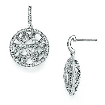 Sterling Silver Pave Rhodium-plated and Cubic Zirconia Fancy Polished Dangle Post Earrings