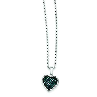 Sterling Silver Open back Gift Boxed Spring Ring Cut-out sides Rhodium-plated Blue Diamond Heart Pendant
