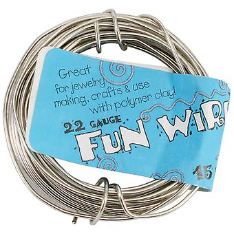 Plastic Coated Fun Wire 22 Gauge 15'-Icy Silver 22G-84352