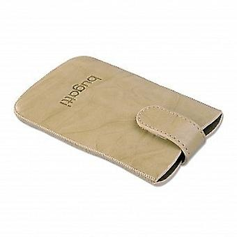 Bugatti unique SL beige leather pouch case for Samsung Galaxy S2 S HTC sensation