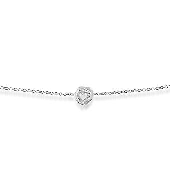 Gemondo 9ct White Gold 0.03ct Diamond Hearts Bracelet