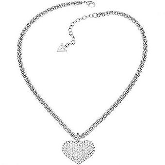 Guess ladies chain necklace stainless steel Silver heart UBN51407