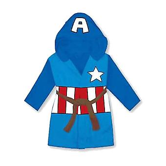 Marvel Avengers Children's Hooded Blue Fleece Captain America Dressing Gown