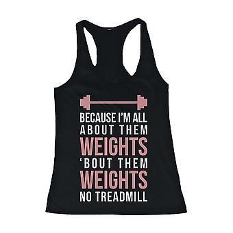 Rosa divertido diseño de tapa del tanque de entrenamiento - todo sobre ellos peso - ropa de gimnasia