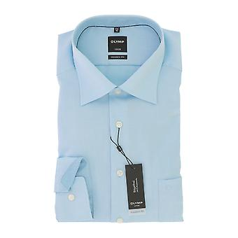 Olympus Luxor mens shirt turquoise modern fit Kent collar non-iron Gr. 48