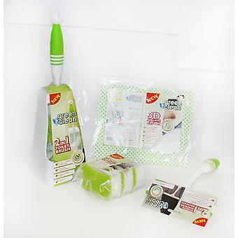Charles Bentley Green and Clean Bathroom 4 Piece Cleaning Toilet Brush & Holder Set