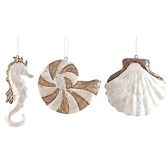 Capiz Shells of the Sea 4.5 Inch Holiday Christmas Ornaments Set of 3