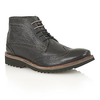 Lotus Rushmore Black Leather Ankle Boots