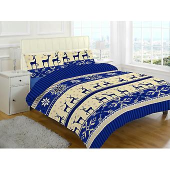 Nora Christmas Stag Brushed Cotton Flannelette Thermal Duvet Cover