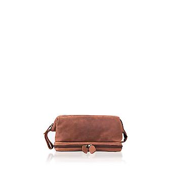Hunter Leather Washbag in Tan