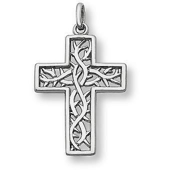 Corona de espinas Cruz colgante, de oro blanco de 14 K