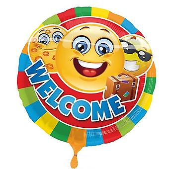 Foil balloon of welcome to happy faces and case helium balloon 43 cm balloon