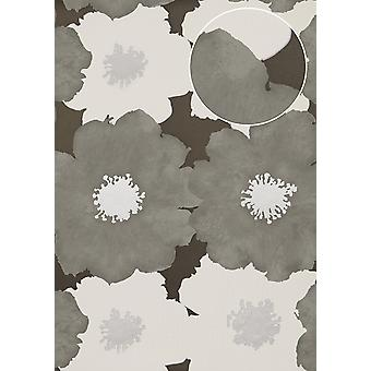 Flowers wallpaper Atlas TEM-5108-6 non-woven wallpaper minted in retro style and metallic accents, silver grey anthracite white 7,035 m2