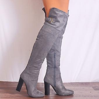 Shoe Closet Grey Suede Boots - Ladies D3-4 Grey Faux Suede Buckle Over The Knee High Boots