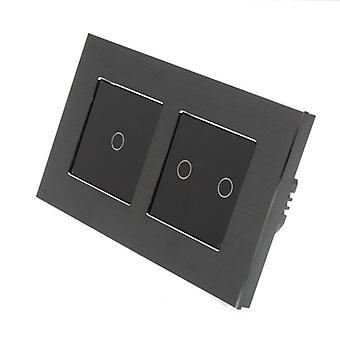 I LumoS Black Brushed Aluminium Double Frame 3 Gang 1 Way WIFI/4G Remote & Dimmer Touch LED Light Switch Black Insert