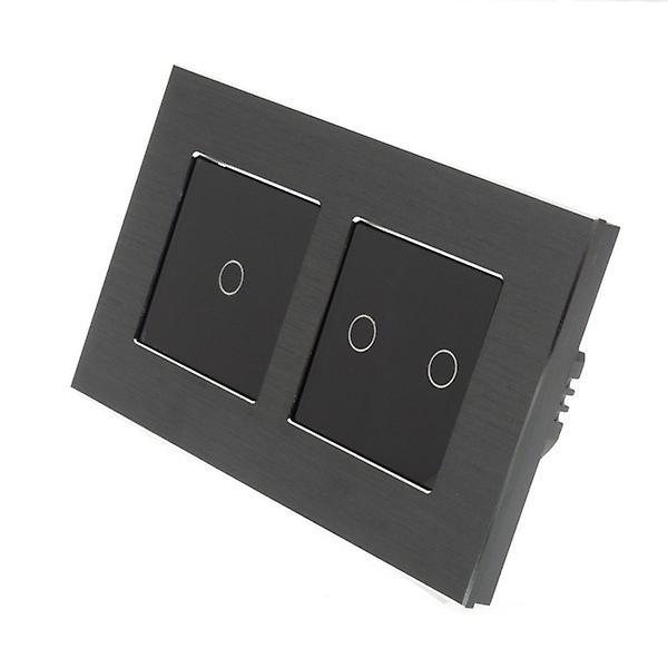 J'ai LumoS noir Aluminium brossé Double châssis 3 Gang 1 façon Remote Touch LED lumière Switch Insert noir