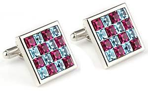 Mousie Bean Square Crystal Cufflinks - Pink/Blue