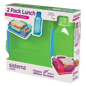 Sistema Lunch Pack, Lunch Box and Water Bottle Set, Lime Green