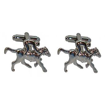 Bassin and Brown Horse Racing Cufflinks - Silver