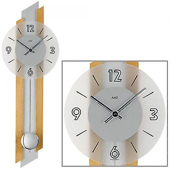 Wall clock quartz wall clock with pendulum beech with wood inlay silver mineral glass
