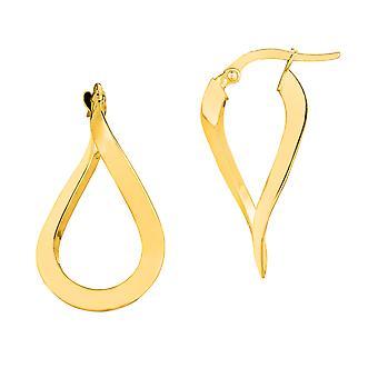 14K Gold 3MM Shiny Wavy Hoop Earrings