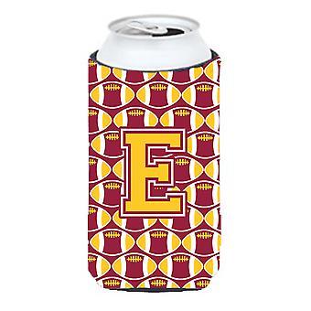 Litera E piłki nożnej bordowy i złoto wysoki chłopiec napojów izolator Hugger