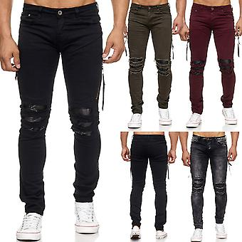 Herren Jeans Ripped Destroyed Löcher Risse Stone Washed Biker Skinny Fit
