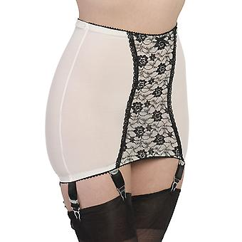 Nylon Dreams NDPG6 Women's Pearl White Lace Light Control Slimming Shaping Girdle