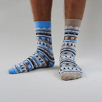 Odd tribe - colourful, blue and beije, comfortable cotton unisex odd socks by bsilysocks