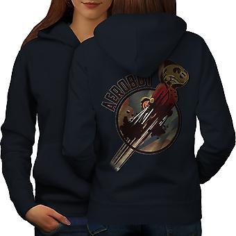 Robot Space Geek Women NavyHoodie Back | Wellcoda