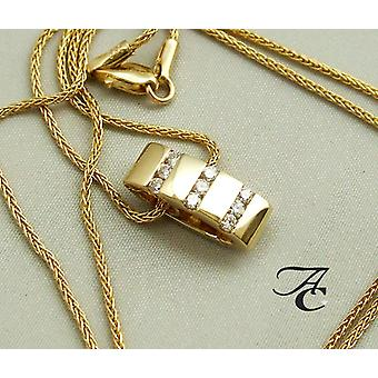 Yellow gold necklace and pendant with diamonds