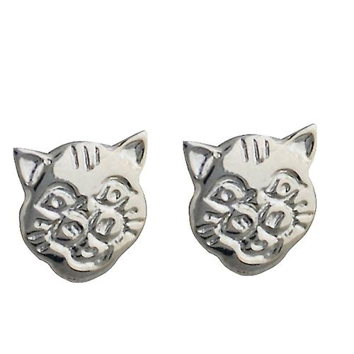 Silver 9x9mm Cat face stud Earrings