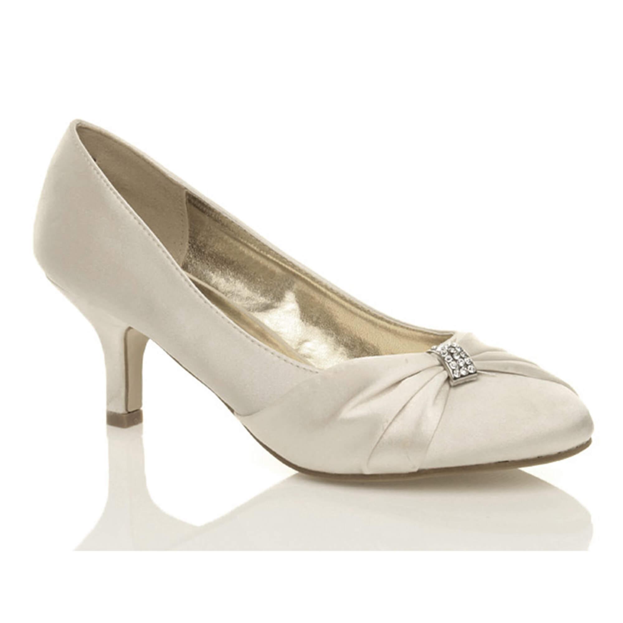 ruched prom wedding evening heel womens shoes mid Ajvani low bridal diamante qwI870