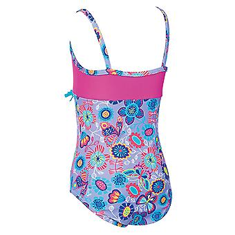 Zoggs Girls Wild Classicback Swimsuit in Lilac / Multi Colour with Slim Straps - Chlorine Proof