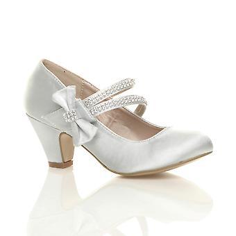 Ajvani 女孩低脚跟党婚礼玛丽简风格钩环凉鞋学校鞋