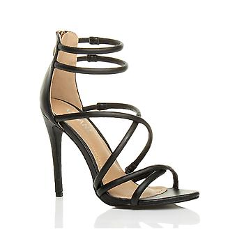 Ajvani womens high heel strappy crossover barely there zip party stiletto sandals shoes