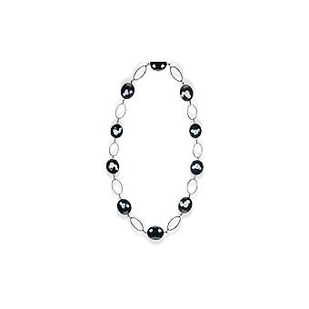 Long woman in black Crystal Necklace and silver plate