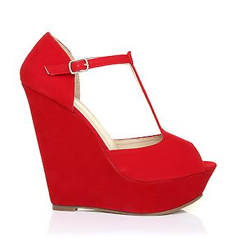 VICKY Red Faux Suede T-Bar Peep Toe Platform Wedge Sandals