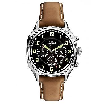 s.Oliver men's watch Chrono wristwatch leather SO-3180-LC