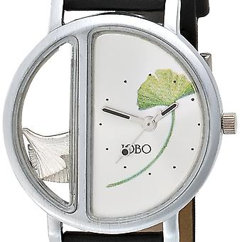 JOBO ladies wrist watch, analog, quartz stainless steel matte finish, Ginko leaves 925-sterling silver, leather strap