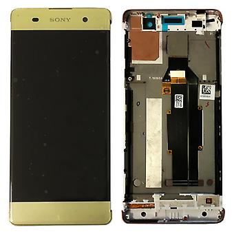 Sony display LCD complete unit with frame for Xperia XA F3111 F3112 lime gold spare part