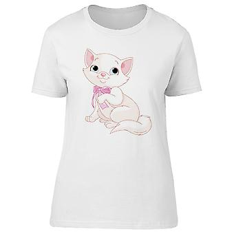 White Kitten With A Pink Bow Tee Women's -Image by Shutterstock