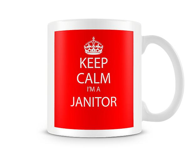 Houd kalm Im A Janitor bedrukte mok bedrukte mok