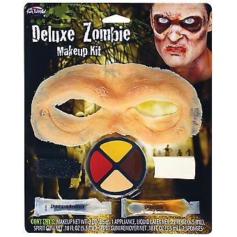 Halloween Deluxe Zombie Make Up Kit Latex Mask, Face Paint Spirit Gum & Remover