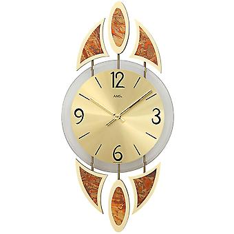 AMS 9437 wall clock quartz mineral glass with decorative metal pads