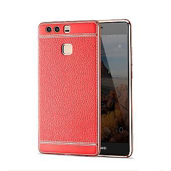 Mobile Shell dla Huawei mate 9 ochronny pokrowiec zderzak przypadkach faux skórzane czerwony